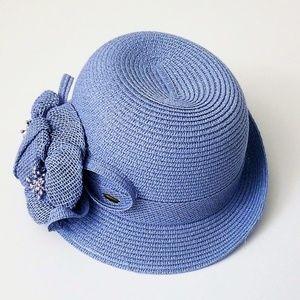 Sky blue straw hat
